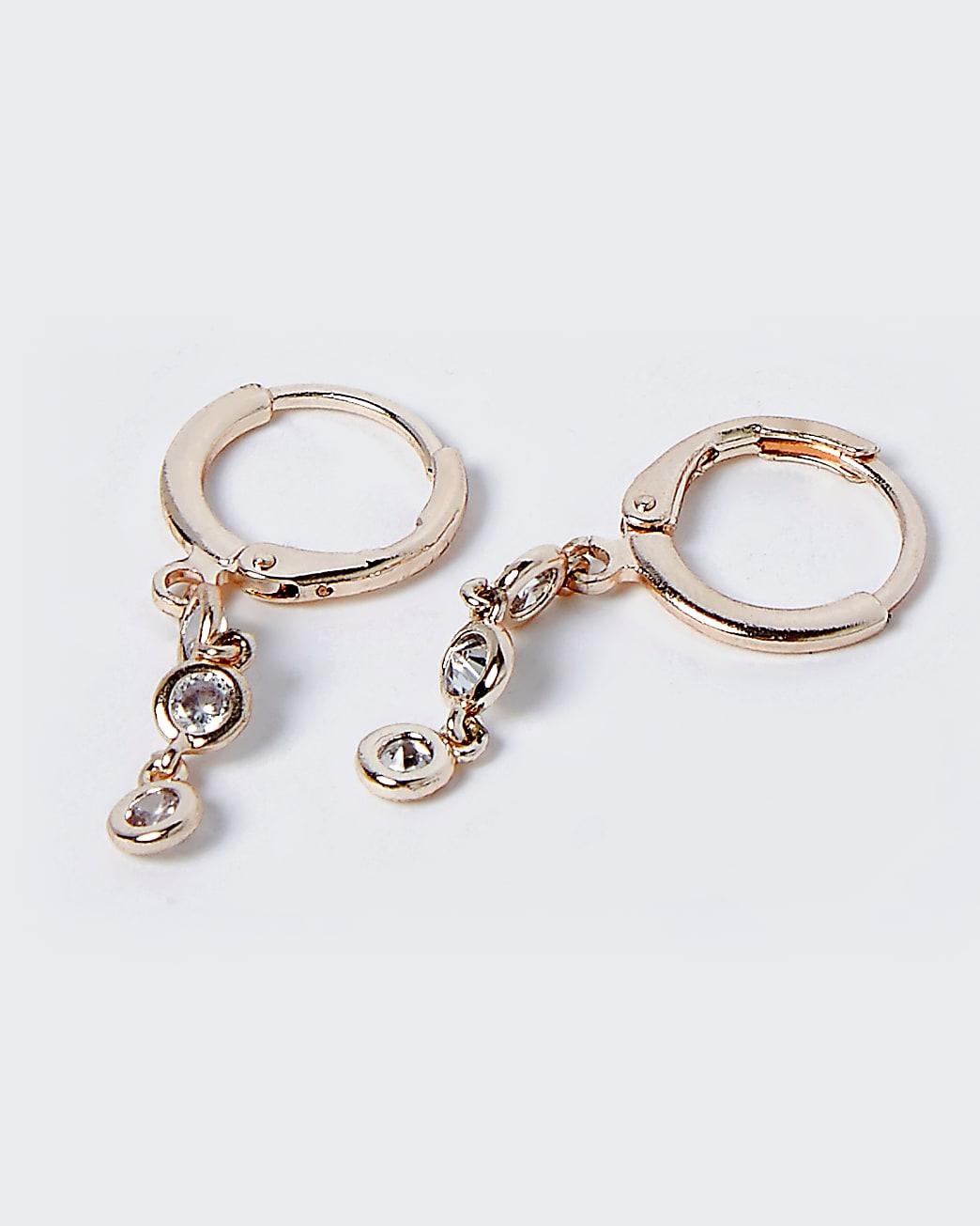 Gold graduated rhinestone drop hoop earrings