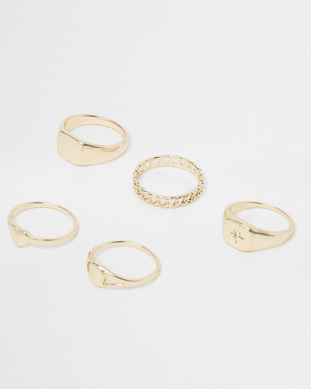 Gold heart and chain ring 5 pack