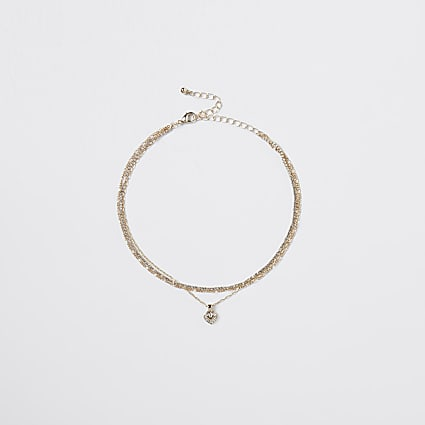 Gold heart charm multirow choker