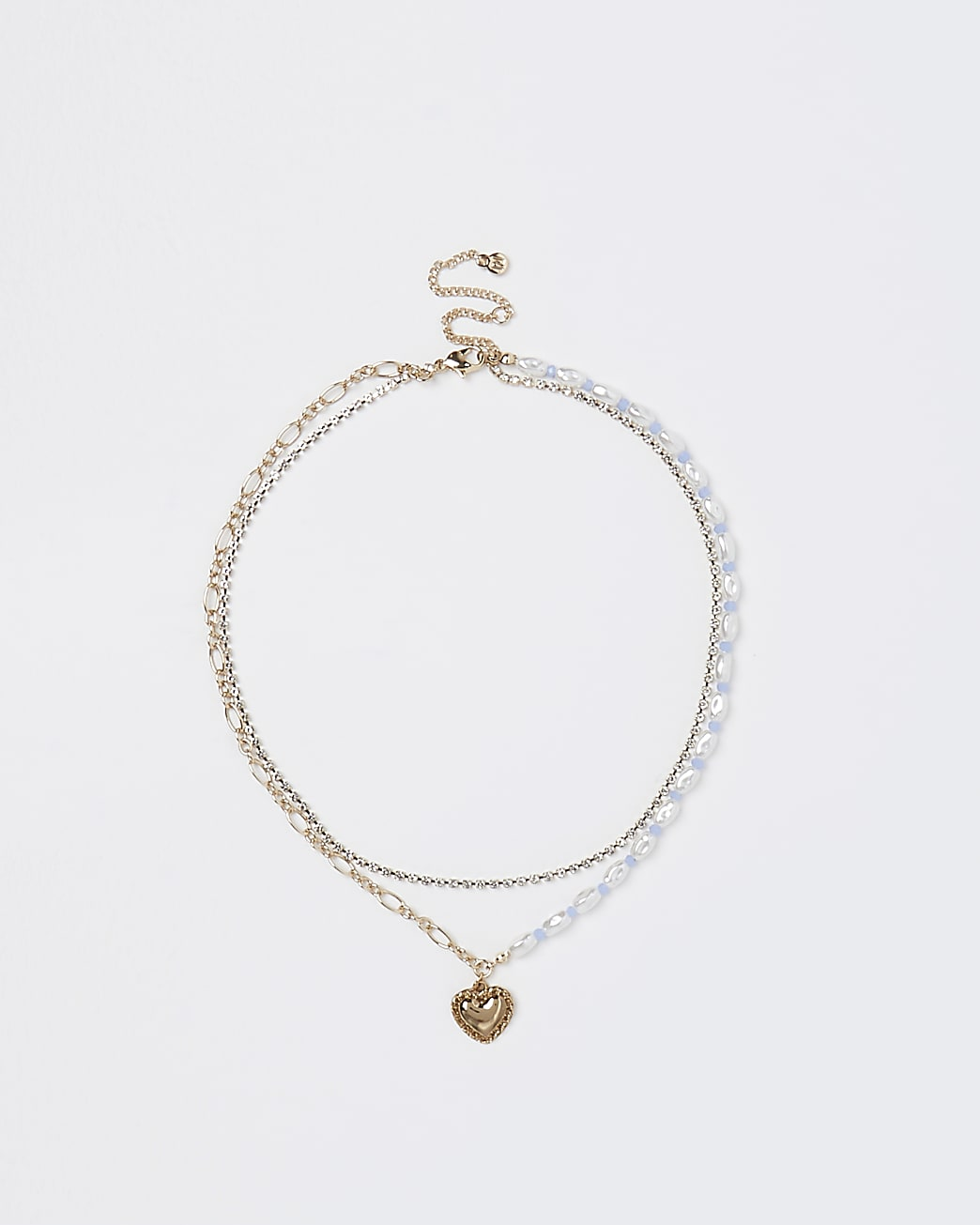 Gold heart charm multirow necklace