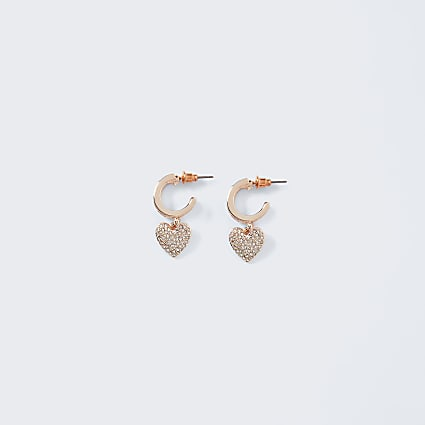 Gold heart drop hoops