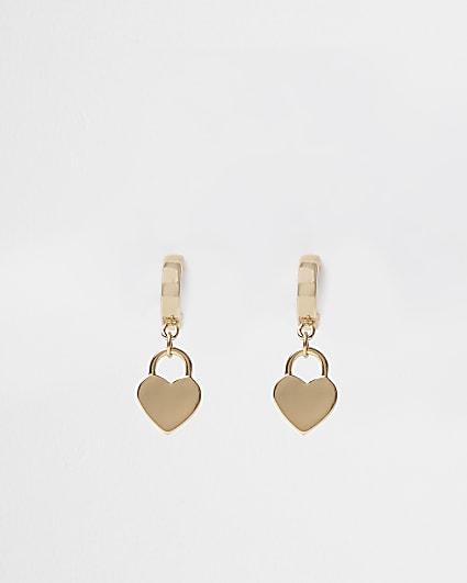 Gold heart pendant drop earrings