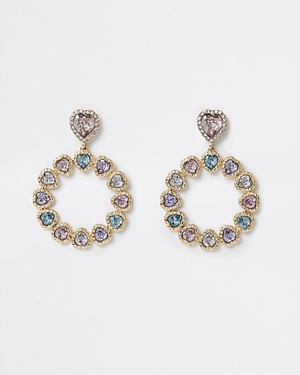 Gold heart shaped stone drop earrings