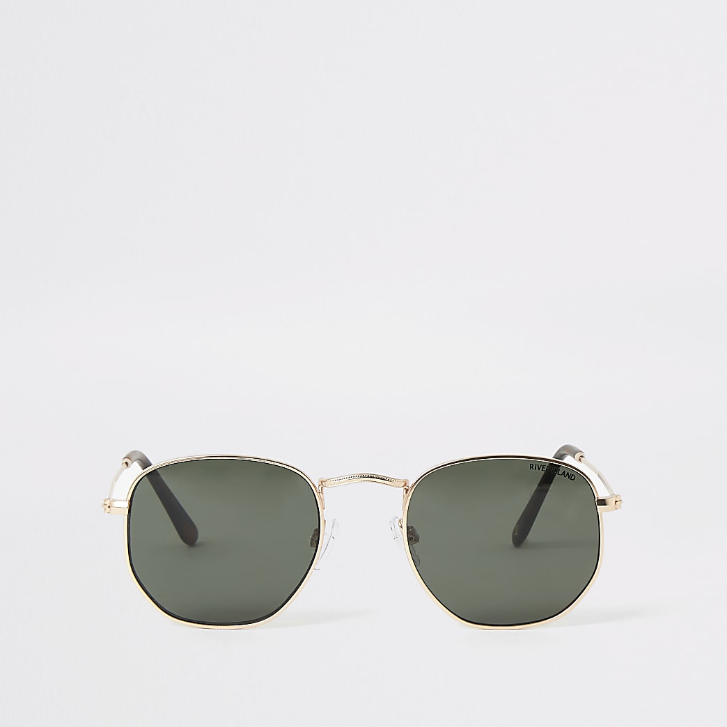 Gold Hexagon shape sunglasses