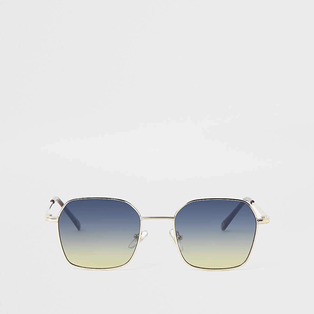 Goudkleurige zeshoekige zonnebril
