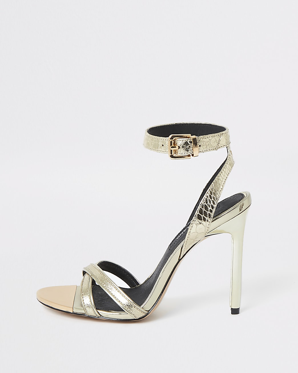 Gold high skinny heel shoes