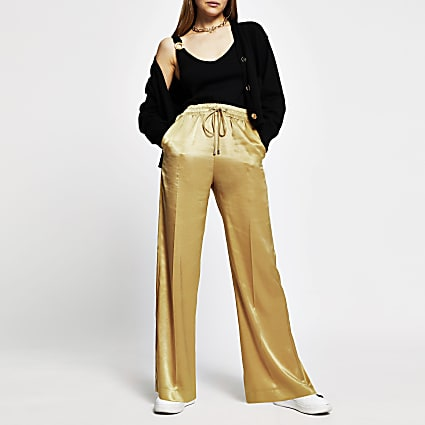 Gold high waist wide leg trousers