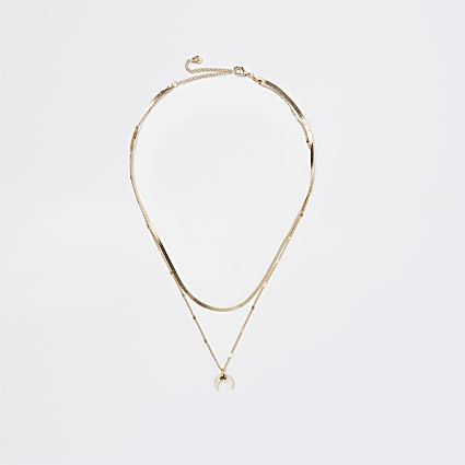 Gold horn charm multirow necklace