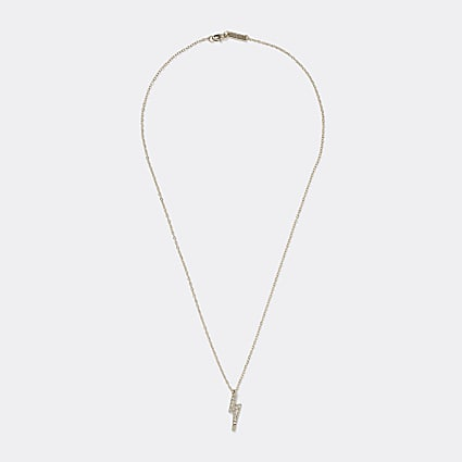 Gold lightening bolt pendant necklace
