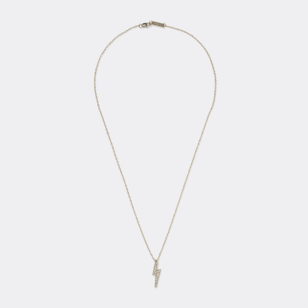 Gold lightening bolt pendant necklace