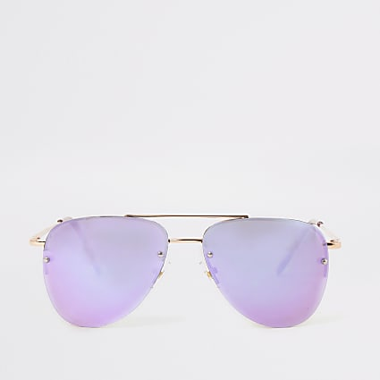 Gold lilac lens aviator sunglasses