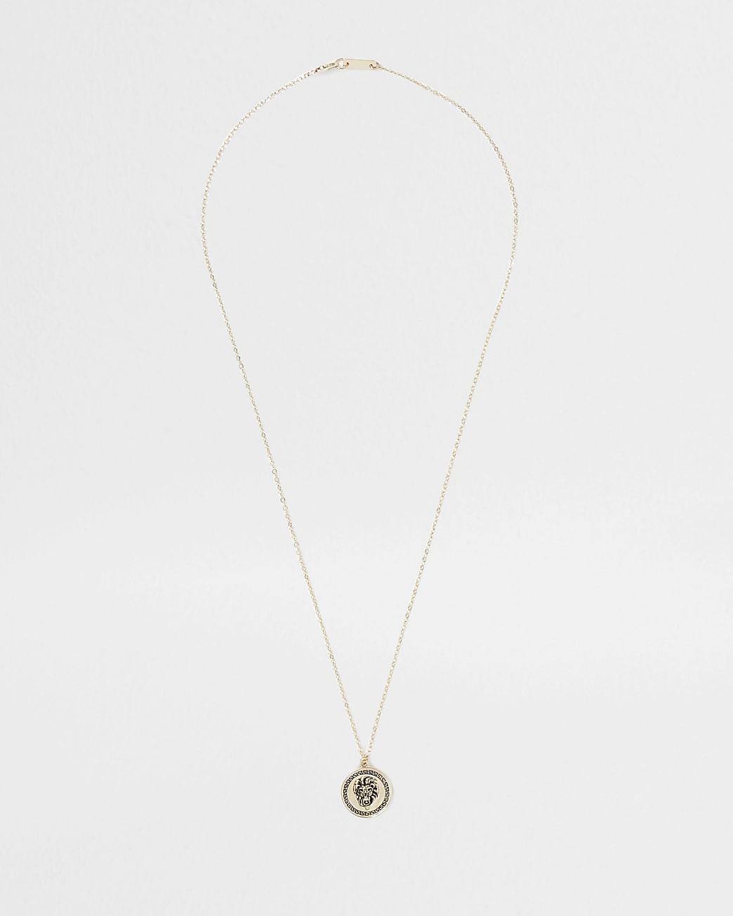 Gold lion disc pendant necklace