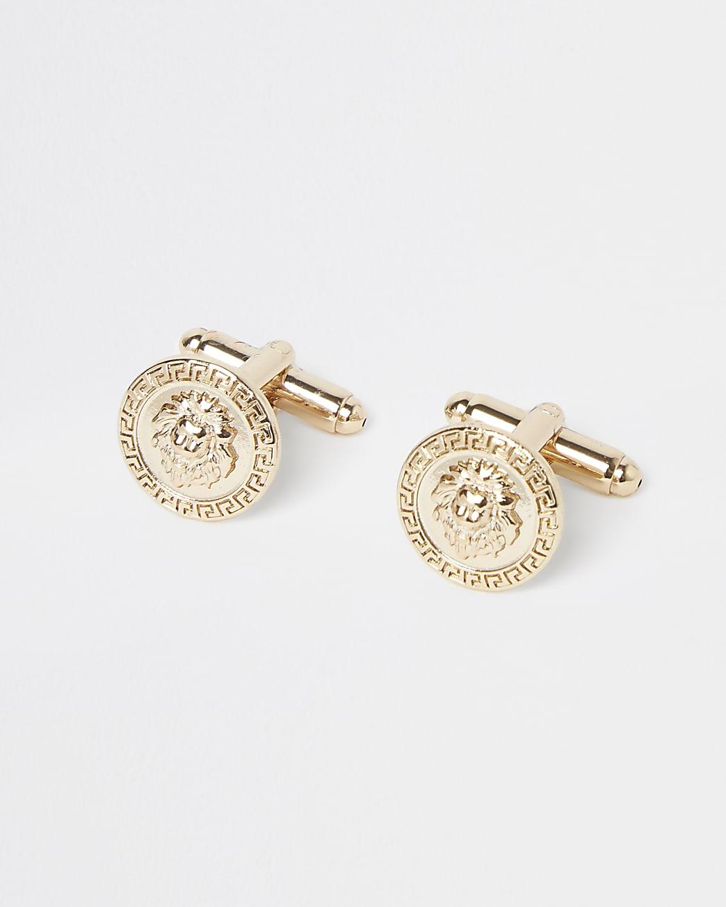 Gold lion embossed cufflinks