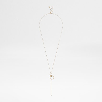 Gold long interlink circle necklace