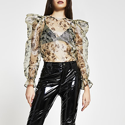 Gold long puff sleeve floral sheer top
