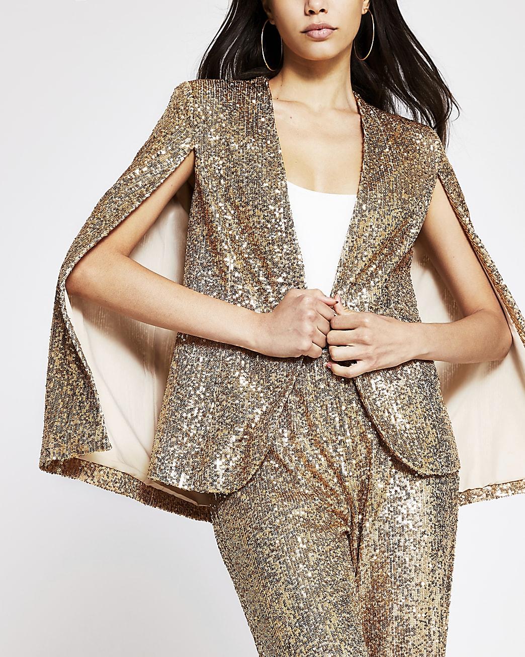 Gold long sleeve sequin embellished cape