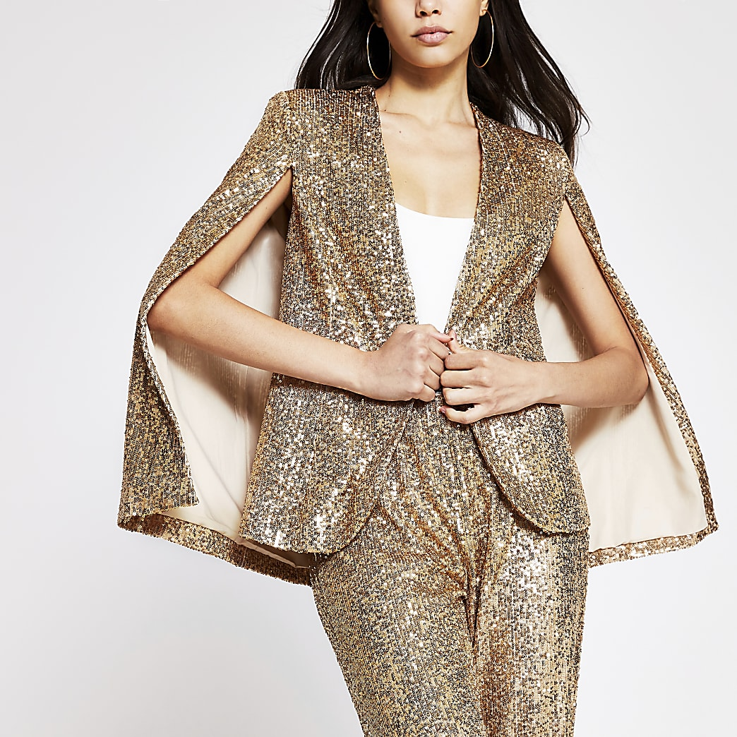Gold long sleeve sequin embellished cape