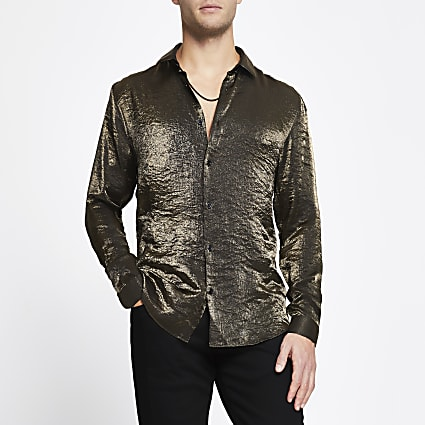 Gold long sleeve slim fit shirt