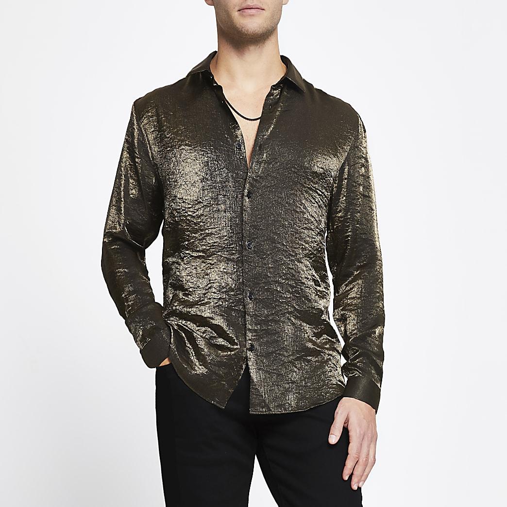 Gold long sleeve slim fit shirt