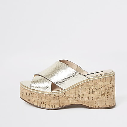 Gold metallic cross vamp wedges