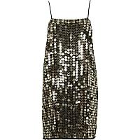 Gold metallic disk sequin slip dress