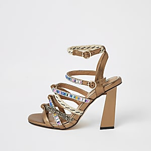 Gold metallic embellished strappy sandals