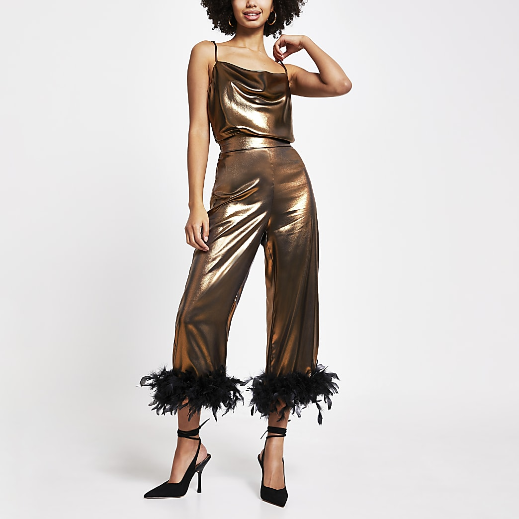 Gold metallic feather hem trousers