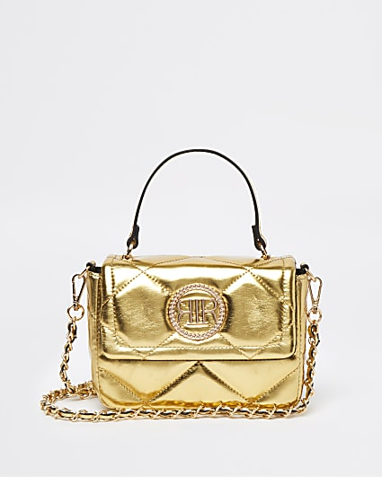 Gold metallic quilted cross body bag