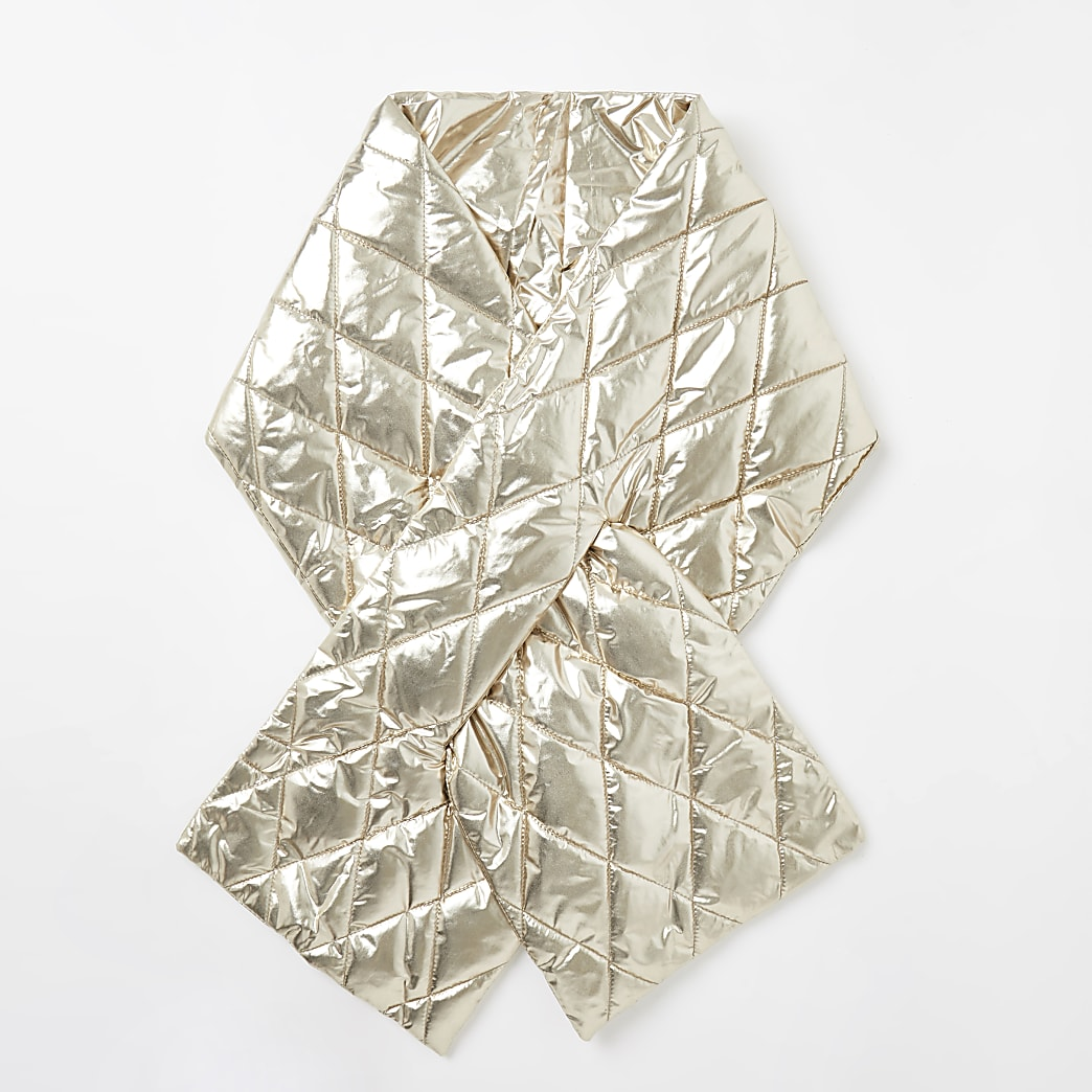 Gold metallic quilted scarf