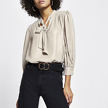 Gold metallic tie front blouse