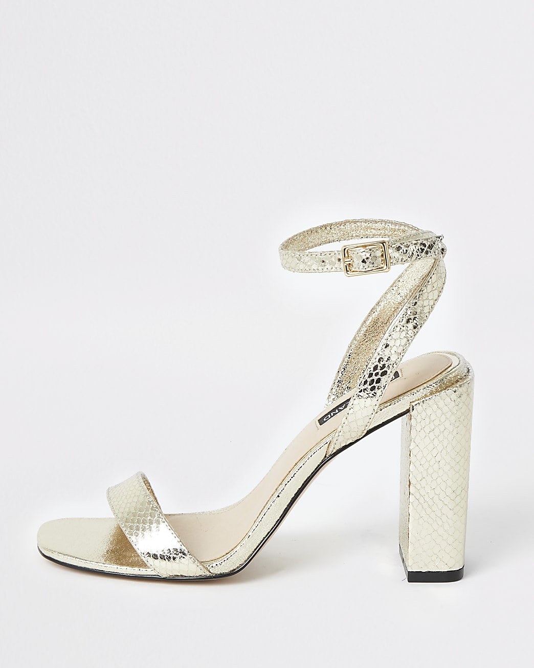 Gold metallic two part block heel sandals