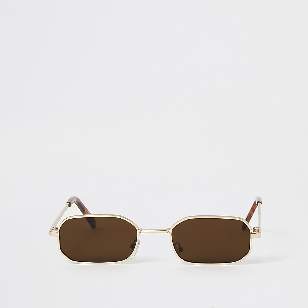 Goudkleurige rechthoekige mini-zonnebril