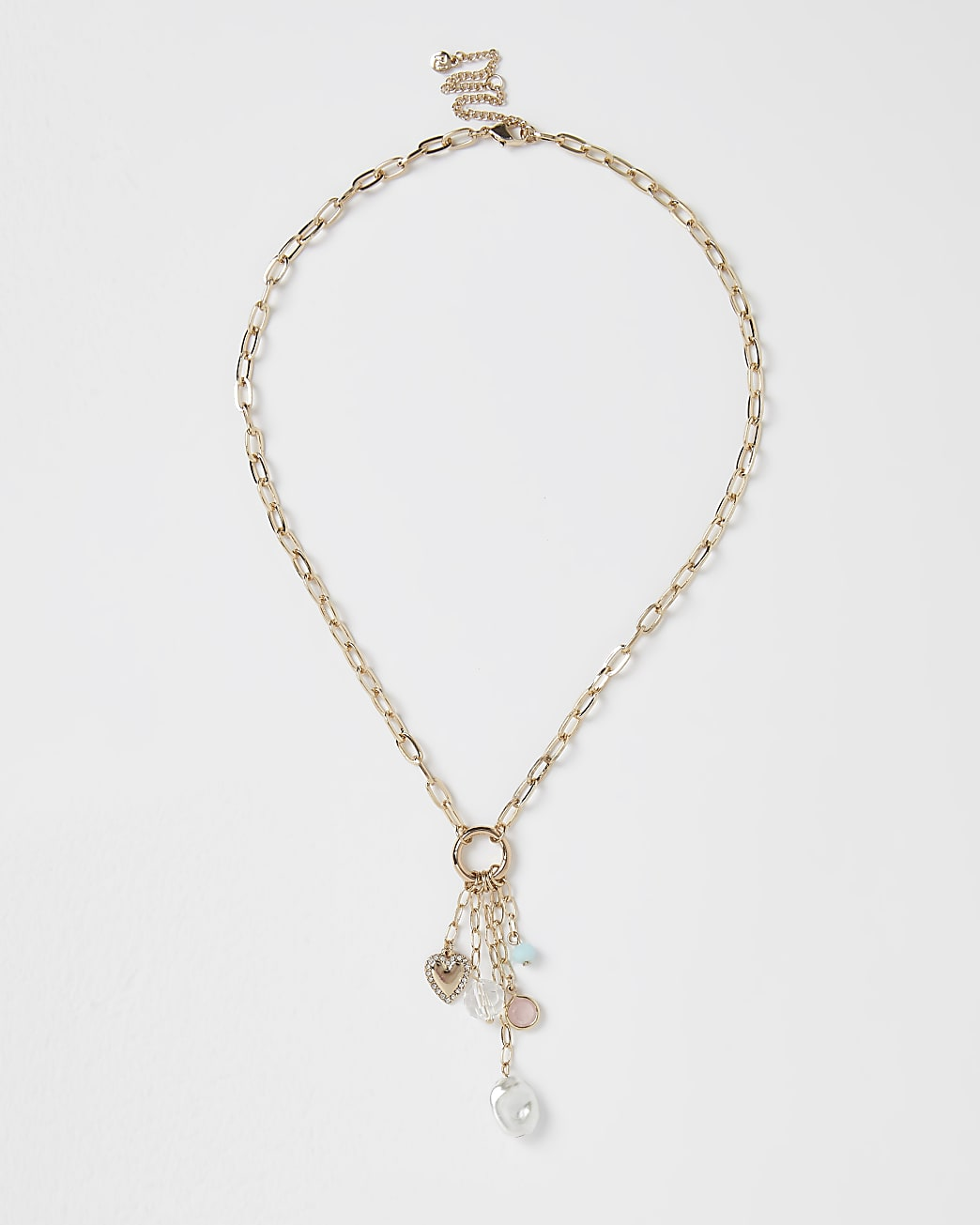 Gold mixed bead charm necklace
