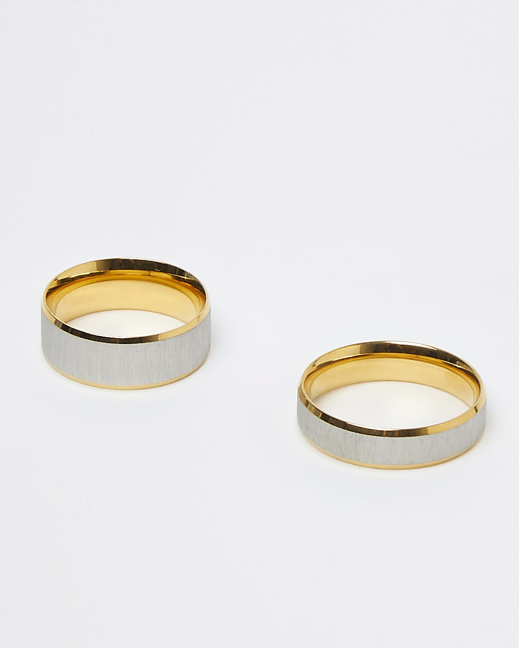 Gold mixed metal band rings 2 pack