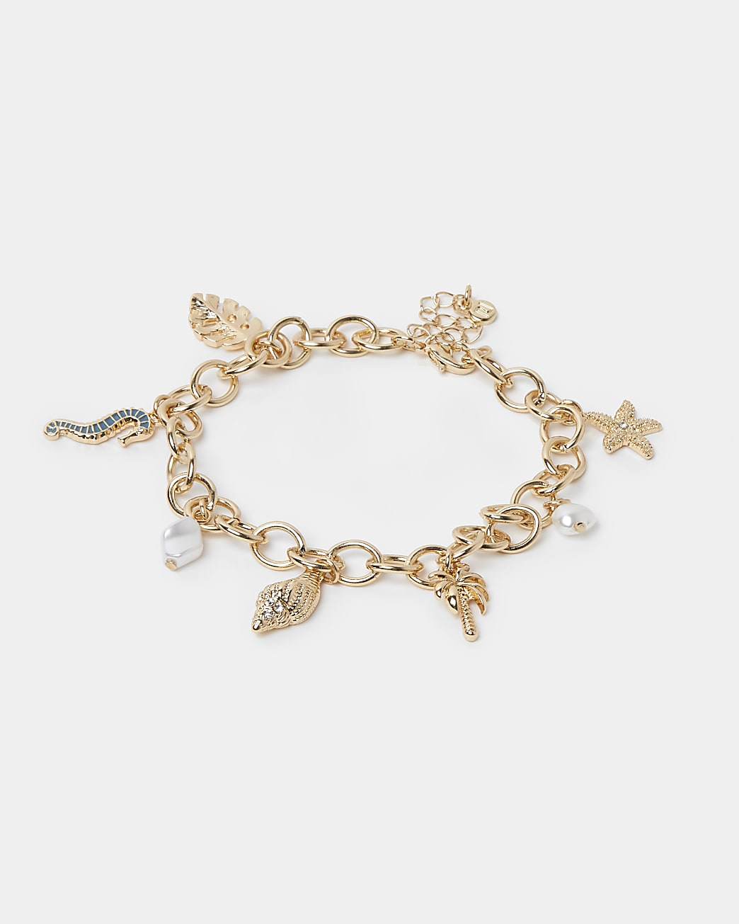 Gold mixed shell charm anklet