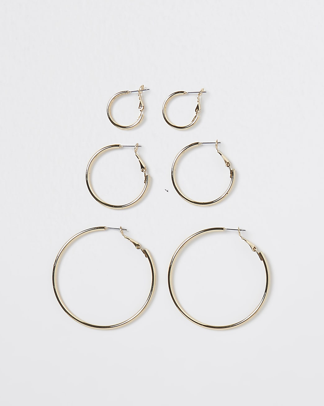 Gold mixed size hoop earrings multipack