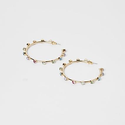 Gold multi coloured diamante hoop earrings