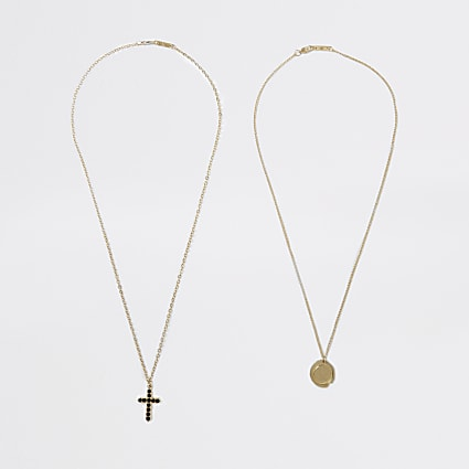 Gold multi cross and coin necklaces