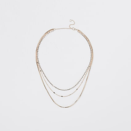 Gold multi layer choker necklace