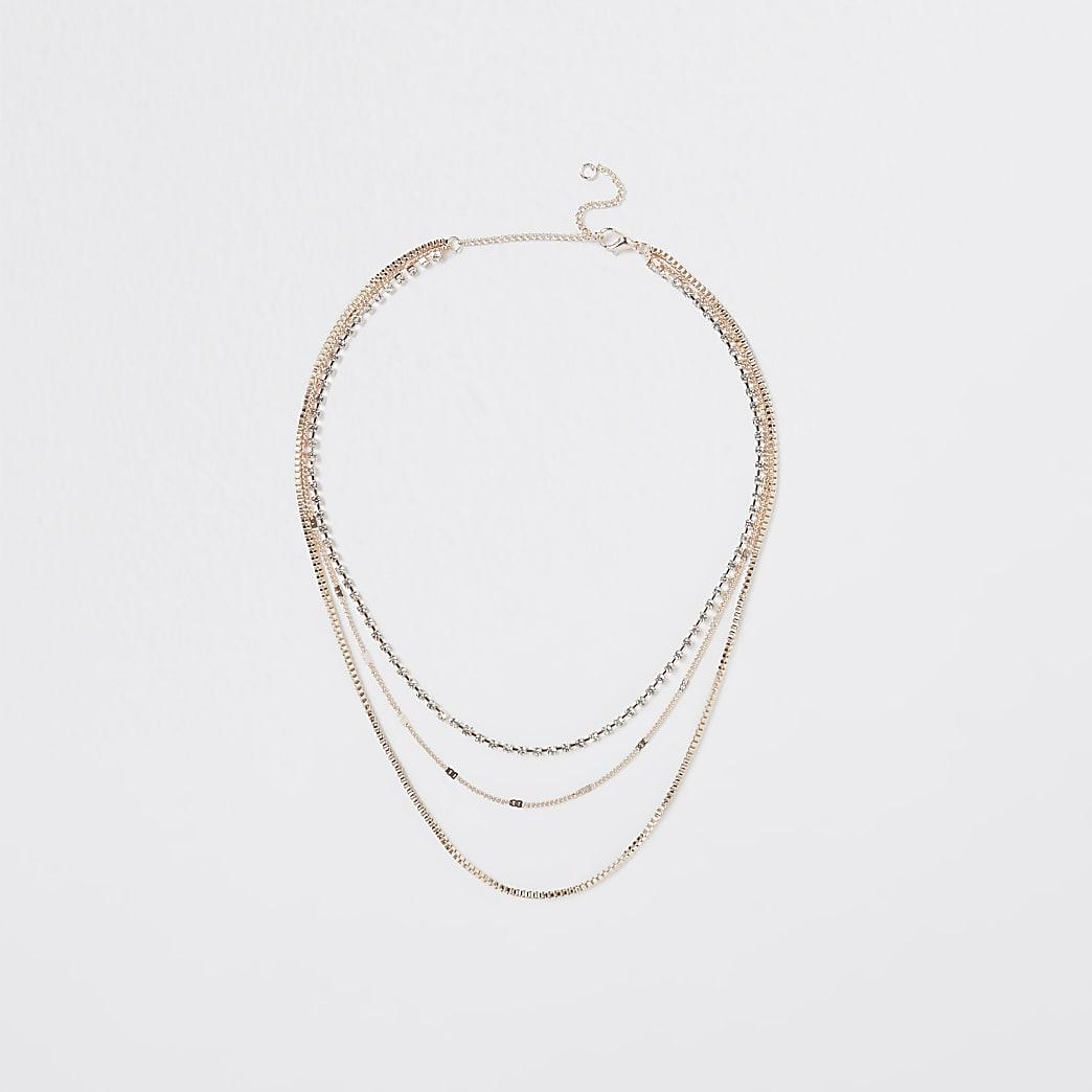 Gold multi layer choker necklace