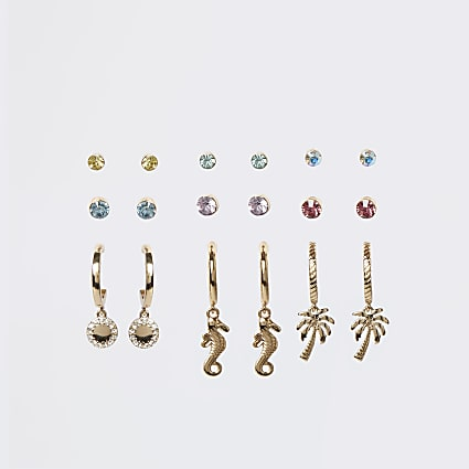 Gold multi stone and charm earrings multipack