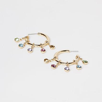 Gold multi stone drop hoop earring