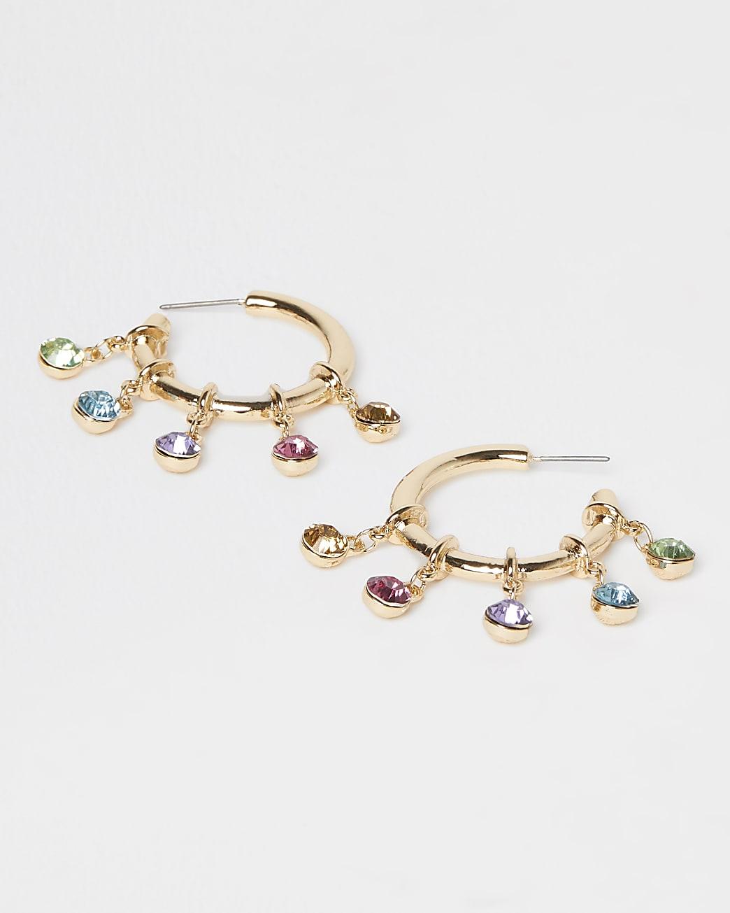 Gold multi stone drop hoop earrings