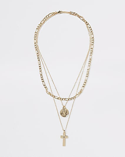 Gold multirow chain necklace