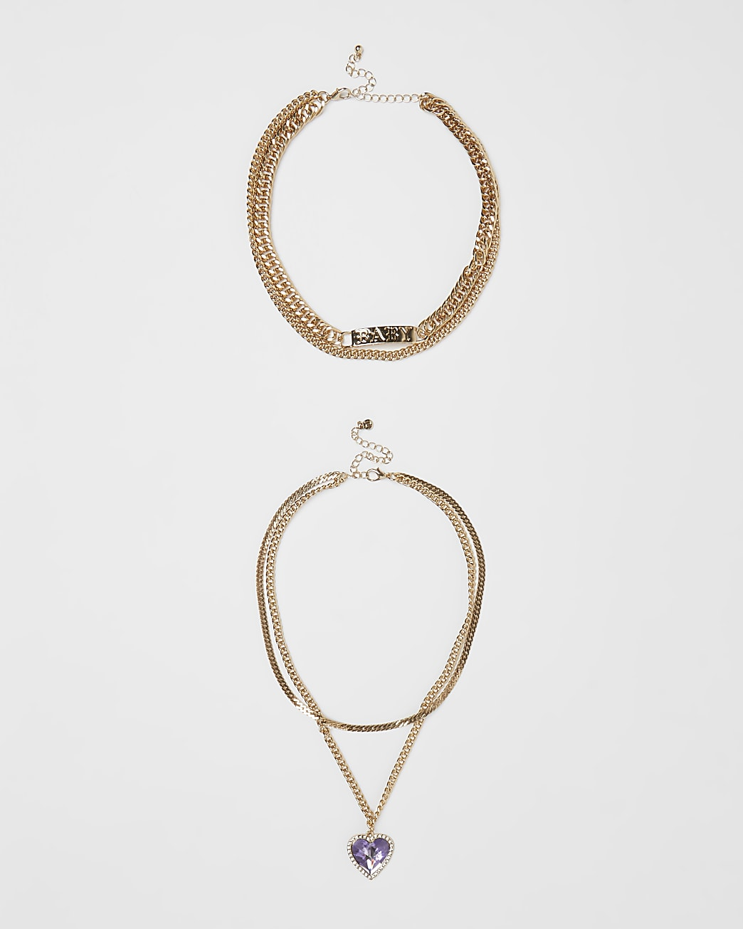 Gold multirow necklace multipack