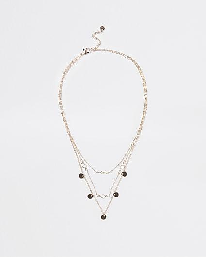 Gold multirow necklace