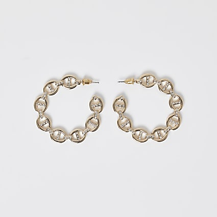 Gold open section hoop earrings