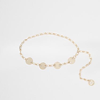 Gold oval chain waist belt