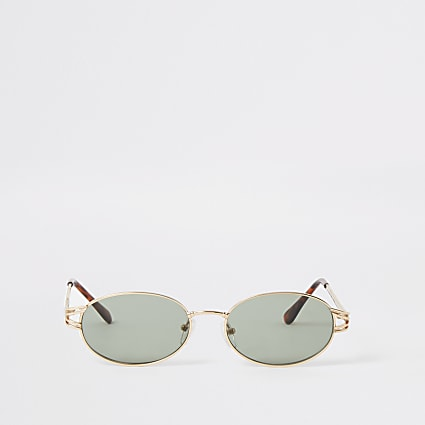 Gold oval green lens sunglasses