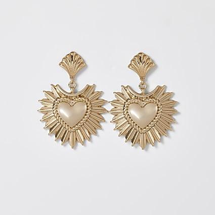 Gold oversized heart drop earrings